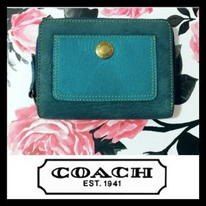 Coach Genuine Leather Blue Color Block Wallet